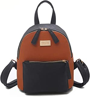 ZYL Nylon Fashion Sports PU Leather Contrast Color Backpack (Color : Brown, Size : 201424cm)