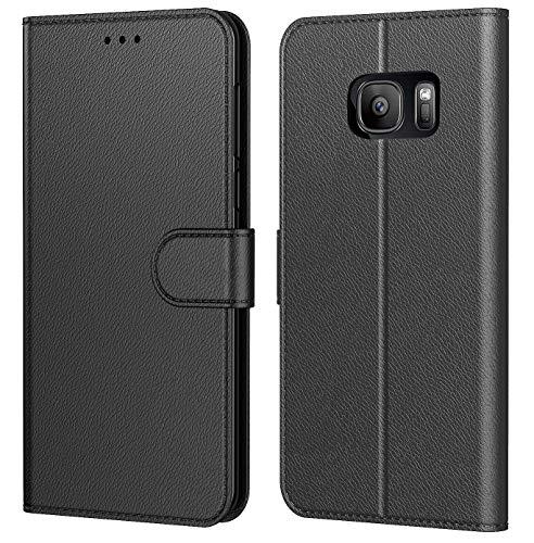 Tenphone Etui Coque pour Samsung Galaxy S7, Protection Housse en Cuir PU Portefeuille Livre,[Emplacements Cartes],[Fonction Support],[Languette Magnétique] pour (Galaxy S7 (5,1 Pouces), Noir)