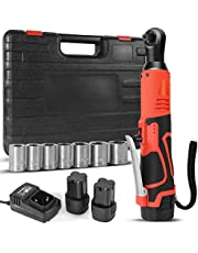 """16.8V Cordless Electric Ratchet Wrench Set, Gexmil 3/8"""" Power Ratchet Wrench 80N·m 400 RPM Variable Speed w/,with 2-Pack 2000mAh Lithium-Ion Battery,Fast Charger and 7 Sleeves"""