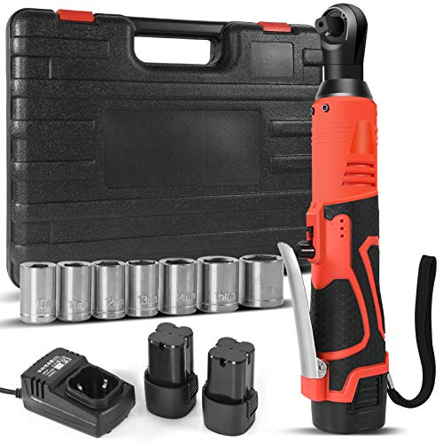 16.8V Cordless Electric Ratchet Wrench Set, Gexmil 3/8' Power Ratchet Wrench 80N·m 400 RPM Variable Speed w/,with 2-Pack 2000mAh Lithium-Ion Battery,Fast Charger and 7 Sleeves