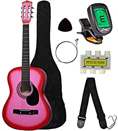 Beginner 38 inch Pink Acoustic Guitar Set with Gig Bag and Accessories