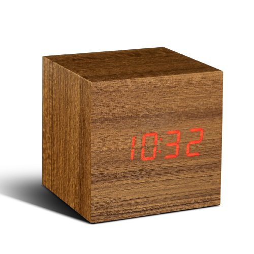 Gingko Cube Click Clock Teak/Red LED