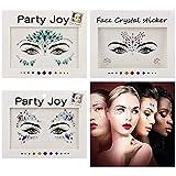 EEM 3 Juegos de Diamantes de imitación Joyas de Cara Tatuaje, Gemas faciales Brillo, - Pegatinas para EL Cuerpo Cristal Lágrimas Piedras Preciosas Pegatinas temporales