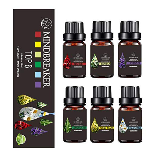 Floral Essential Oils Set, Organic Aromatherapy Scented Oils Top 6 100% Pure Therapeutic Premium Grade Essential Oils - Gift Set 6/10ml Bottles (Floral Essential Oils Set-TOP 6)