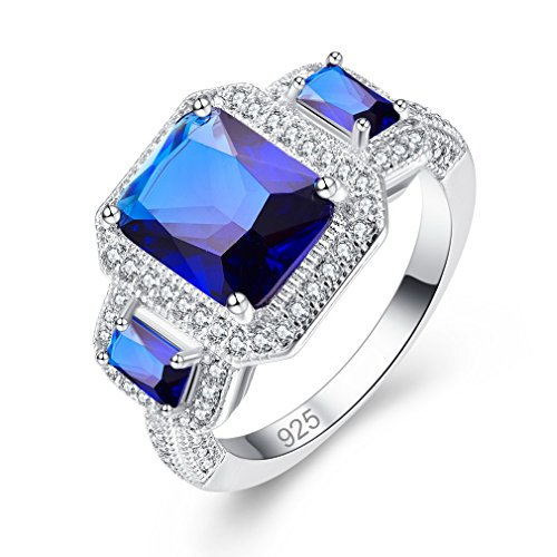 YAZILIND Blue Rectangle Cubic Zirconia Ring Platinum Plated Rhinestone Wedding Jewellery for Women Size N