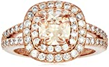 Rose Gold Plated Sterling Silver Cushion Cut Champaign Cubic Zirconia 6mm Double Halo Ring, Size 5