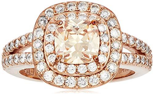 14k oro rosa placcato argento Sterling Champagne Cubic Zirconia taglio cuscino 6 millimetri doppio Halo anello,Rosa