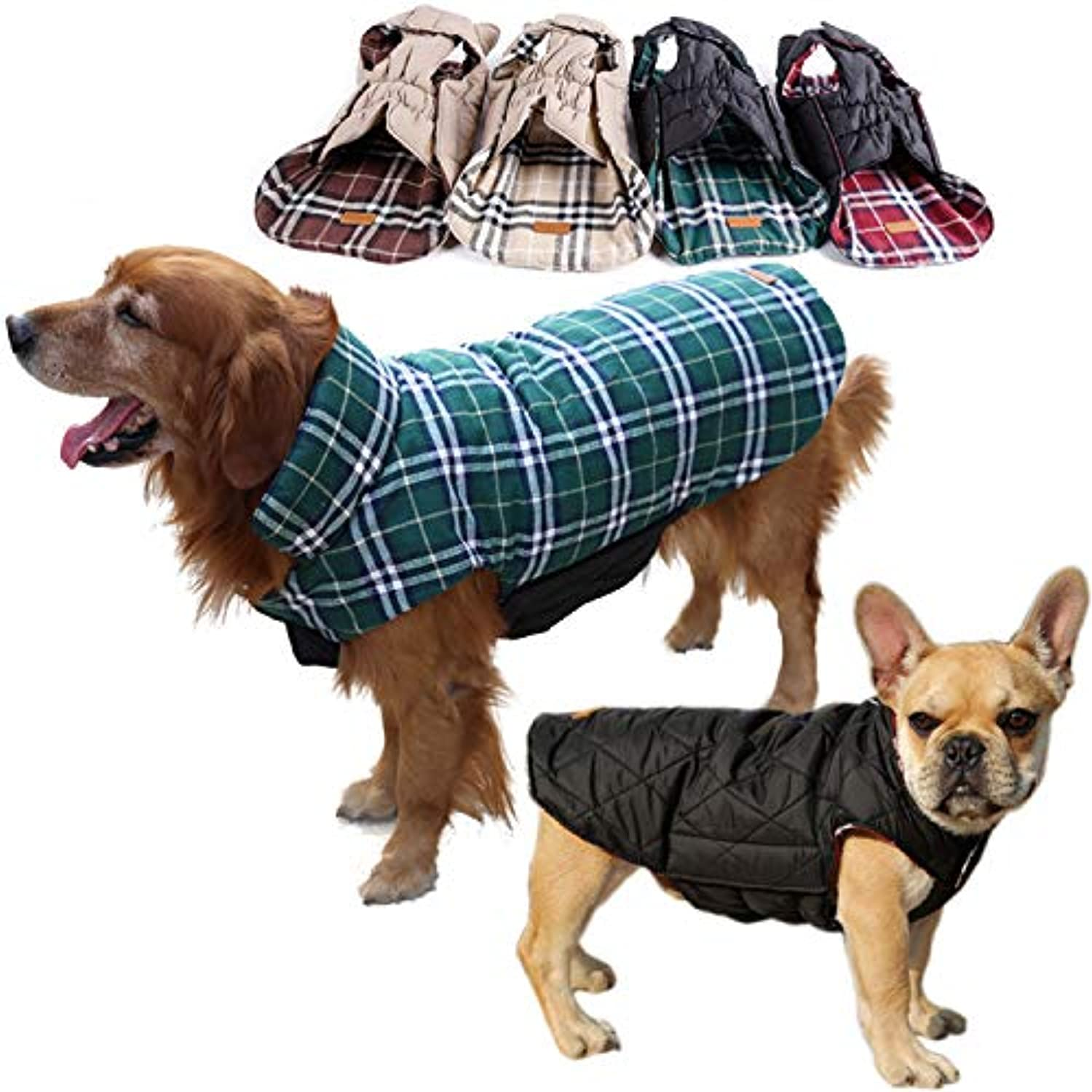 REXSONN Pet Dog Cats Cozy Windprova Jacket Winter Warm Apparel Grid Plaid Riversible Coats for Small Puppy Medium Large Dogs