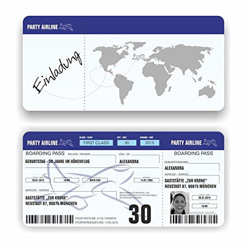Einladungskarte Geburtstag Flugticket Ticket Geburtstagskarte Boarding Pass Bild (20 Stück)