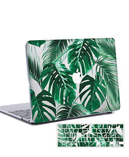 Macbook Air 13 inch Case 2020 2019 2018 Release with Keyboard Cover Plastic Hard Shell Case Cover for 13 inch MacBook Air Retina with Touch ID Model: A2179/A1932 - leaves