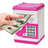 Zonkin Cartoon Electronic ATM Password Piggy Bank Cash Coin Can Auto Scroll Paper Money Saving Box Gift for Kids (White Pink)