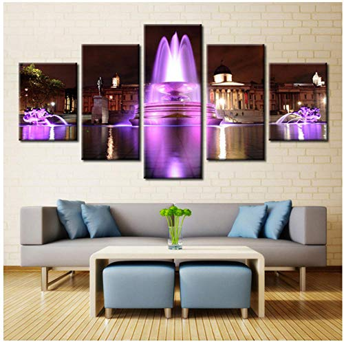 nr Die Neonlichter Mode Berühmte Gebäude Brunnen Bilder Druck Auf Leinwand Ölgemälde Poster Für Wohnzimmer Dekorationen 30X40 30X60 30X80 cm Kein Rahmen