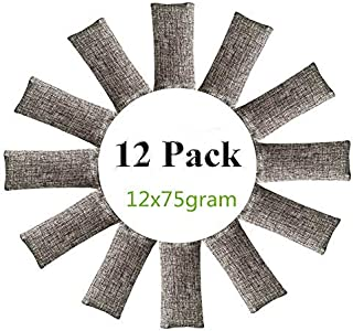 12 Packs Natural Air Purifying Bags,150g Each Pair Mini Bamboo Charcoal Bags,Shoe Deodorizer and Odor Eliminator