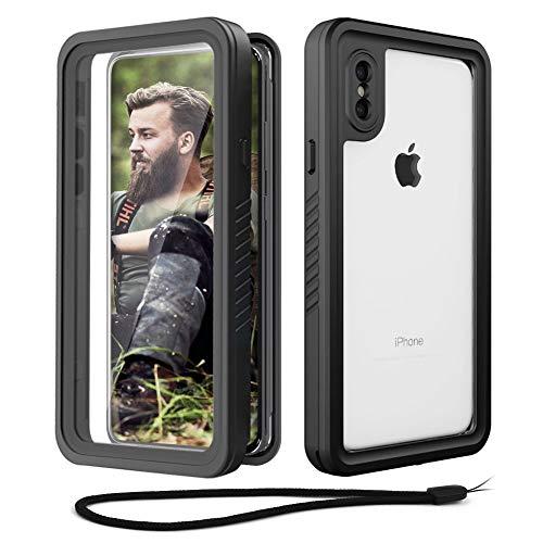 Beeasy Hülle Stoßfest für iPhone X/XS,IP68 Zertifiziert wasserdichte Handyhülle,360 Grad Schutzhülle mit Eingebautem Bildschirmschutz,Staubdicht Schneefest Outdoor Cover Hülle,Schwarz
