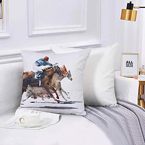 Lilatomer Funda de algodón 45 x 45 cm Carrera de Caballos Competencia Derby Racing Caballos con Jinetes Acuarela Sofá Throw Cojín Almohada Caso de la Cubierta para Sala de Estar 45x45cm