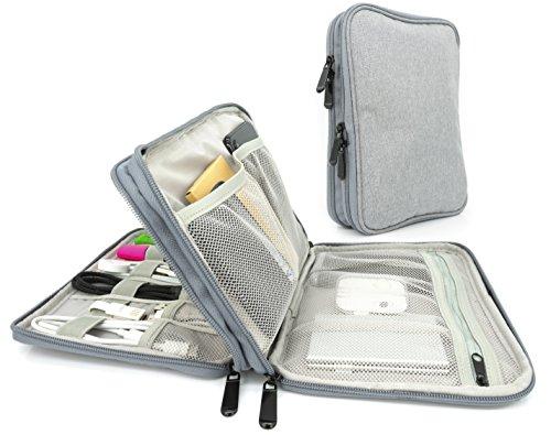 MyGadget Universal Kabel Organizer Tasche für Elektronik Zubehör - Reise Kabeltasche Aufbewahrung für Ladekabel, Powerbank, Ladegerät, SD Karte - Grau