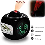 Projection Alarm Clock Wake Up Bedroom with Data and Temperature Display Talking Function, LED Wall / Ceiling Projection, Dinosaur-213.31_Lesothosaurus dinosaur