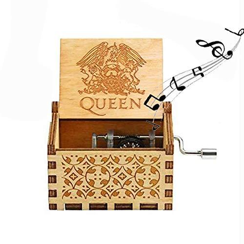 Funmo Carillon di Legno Tema di Queen, Scatole Musicali in Legno Intagliate a Mano e Intagliate a Mano Creativi I Migliori Regali
