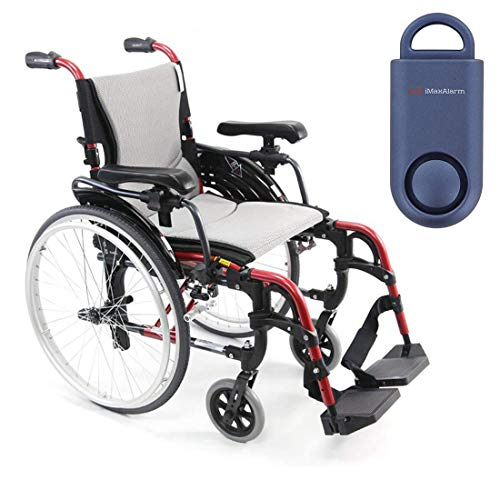 Karman S-Ergo 305 Ultra Lightweight Ergonomic Wheelchair | Adjustable Seat Height | Seat Size 16' X 17' | Frame Color Rose Red & Free 130 dB Matte Blue Personal Safety Alarm/Siren!