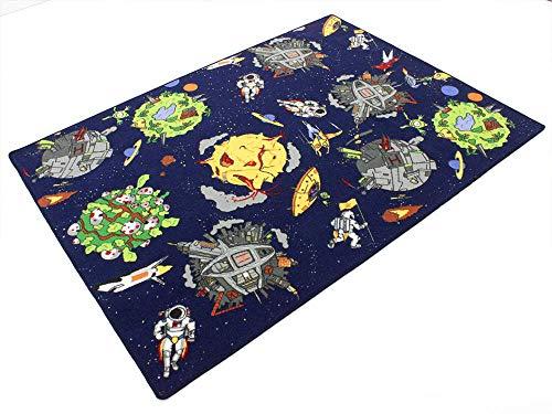 HEVO Space blau Weltraum Teppich   Spielteppich   Kinderteppich 145x200 cm Oeko-Tex 100