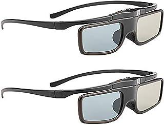 3D Glasses, Active Shutter Rechargeable Eyewear for 3D DLP-Link Projectors Cocar - Pack of 2