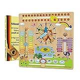 WoodyWood® Orologio per calendario per bambini, in legno, giocattolo educativo 30 x 30 cm, bilingue