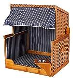 Mr. Deko Hundestrandkorb PE beige Dessin blau gestreift inklusive Schutzhaube für Garten, Terrassen, Wohnzimmer,...
