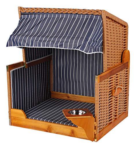 Mr. Deko Hundestrandkorb PE beige Dessin blau gestreift inklusive Schutzhaube für Garten, Terrassen, Wohnzimmer, Strandkörbe, Hundekorb, Körbchen, Strandkorb, Hund, Katze, Hundebett, Napf, Hundehütte