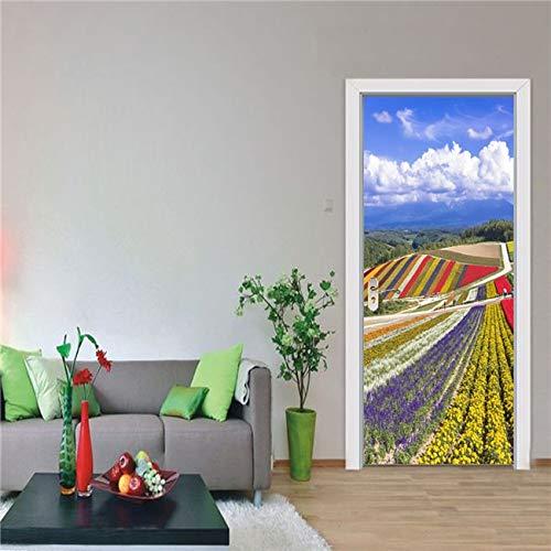 DFKJ Vintage Retro Puerta Pegatina Papel Tapiz decoración del hogar Puerta renovación Cartel Mural Dormitorio Sala de Estar A17 77x200cm