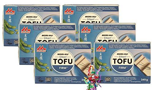 [ 6x 349 g ] Mori-Nu Morinaga - Silken Tofu FIRM - Glutenfrei + ein kleines Glückspüppchen - Holzpüppchen