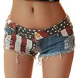 BIXUYAO Donna Vita Bassa Shorts/del Denim Pulsante Sexy Hole Thong Raw Edges con Tasche Stretti Mini Pants,a,M