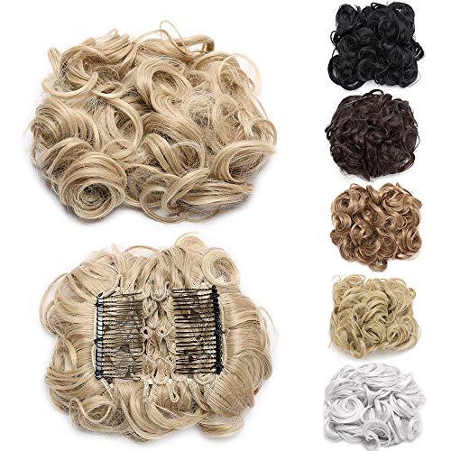 Chignon Extension Capelli con 2 Clips Coda Capelli Mossi Ciambella Elastico Posticci per Capelli Scrunchie Hair Bun Updo–Sabbioso Mix Biondo Sbiancante