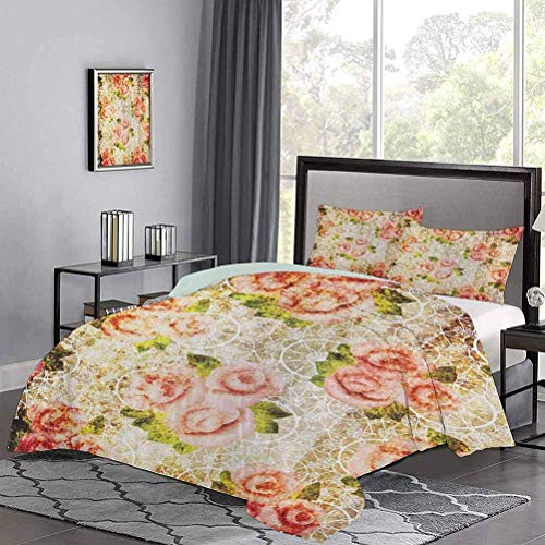 Yoyon Bedding Duvet Cover Set Grunge Psychedelic Artsy Floral Motif with Dated Retro Dark Lace Boho Patterns Ultra Soft Duvet Cover Set Ultra Soft and Easy Care Pink Green Cream