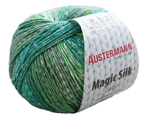 austermann Magic Silk Color, Seidengarn Reine Seide zum Stricken oder Häkeln mit Farbverlauf, 50g ca. 200m (114, Grundpreis: 15,00€/100g)