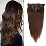 20 inches Clip in Hair Extensions Remy Human Hair - 7pcs 120g Silky Straight Thick 100% Real Medium Brown Human Hairpieces Clip on for Women Beauty (20inch-120g, 4#)