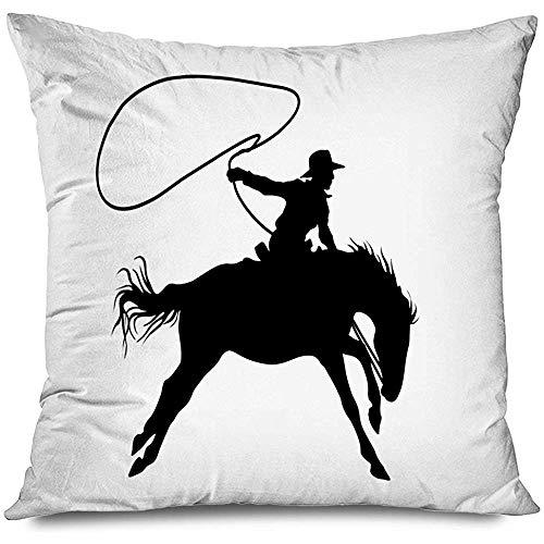 Aoyutiy decoratief kussensloop Orange Lasso Cowboy tekening sterhoed reisslot paard touw Rodeo man mens silhouet western rits kussensloop