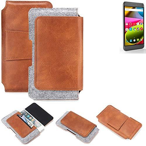 K-S-Trade® Schutz Hülle Für Archos 50 Cobalt Gürteltasche Gürtel Tasche Schutzhülle Handy Smartphone Tasche Handyhülle PU + Filz, Braun (1x)
