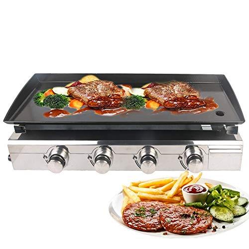 YXZQ Gasgrill Grill Plancha Grill 4 Brenner LPG Steak Maschine CE 84x34cm Gusseisen Kochplatte Outdoor Grill Gewerbe & Garten Verwendung