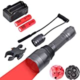 WINDFIRE S10 Predator Varmint Light Kit, 300 Yards 650 Lumen 3 Cree Red LED Long Range Hunting Gear Tactical Flashlight with Scope Mount, Pressure Switch, Spare Rechargeable Battery and Charger