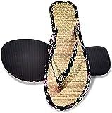 Chanclas para Hombres Y Mujeres, Pantuflas De Paja Chanclas Florales De Verano Sandalias para Adultos Pareja Zapatos De Playa Y Piscina,36