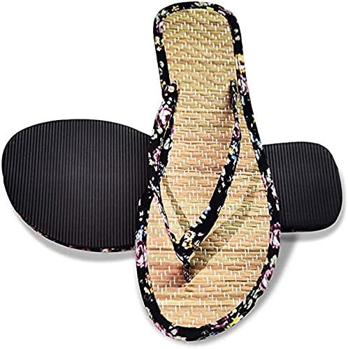 Chanclas para Hombres Y Mujeres, Pantuflas De Paja Chanclas Florales De Verano Sandalias para Adultos Pareja Zapatos De Playa Y Piscina,38