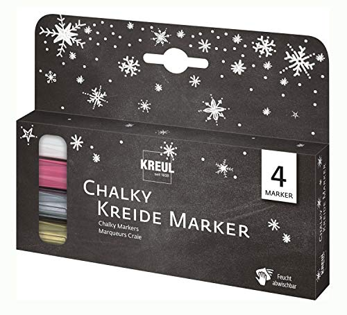 Kreul Chalky 22708 - Juego de rotuladores de tiza líquida (4 unidades,...