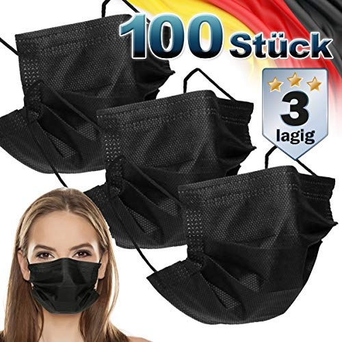 ECD Germany 100 Stück Mundschutz Maske Einweg Gesichtsmaske für Erwachsene Schwarz 3-lagig Schutz atmungsaktiv Mundschutzmaske mit Ohrschlaufen und Nasenbügel Mund-Nasen-Schutz Schutzmaske Einwegmaske