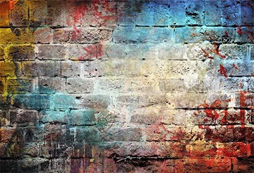 Cassisy 3x2m Vinilo Telon de Fondo Abstracto Vintage Graffiti Grunge Distressed Arte Callejero Pared de ladrillo Fondos para Fotografia Party Photo Studio Props Photo Booth