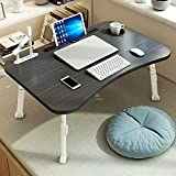 Pollenzic Laptop Bed Desk,Adjustable Folding Laptop Desk,Portable Foldable Laptop Bed Tray Table with USB Charge Port/Cup Holder,for Bed/Couch/Sofa Working, Reading(Black)