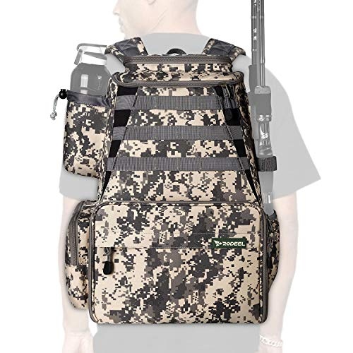 Rodeel Fishing Tackle Backpack for Men, 2 Fishing Rod...