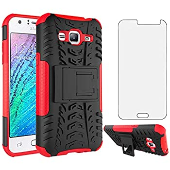 Phone Case for Samsung Galaxy J3 2016/J 3 V/J36V/Sky/Amp Prime with Tempered Glass Screen Protector Cover and Stand Hard Rugged Hybrid Cell Accessories Glaxay Sol J3V J36 6 J320V J320A Cases Black Red