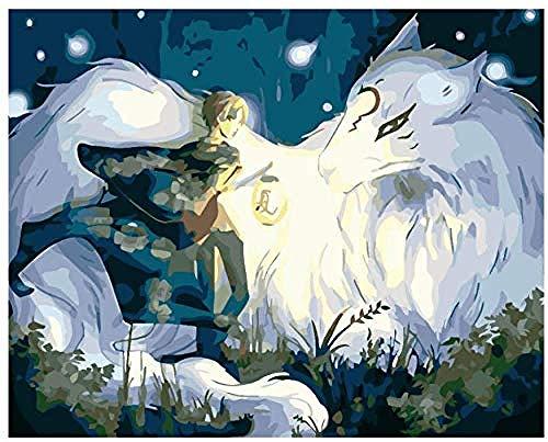 Malen nach Zahlen Kits Junge und Weißer Wolf, Die Laterne Halten DIY Vorgedruckt Leinwand-Ölgemälde Geschenk für Erwachsene Kinder Enthält Acrylfarben und 3 Pinsel -60x75cm(Ohne Rahmen)