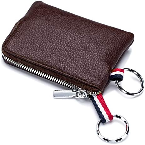 imeetu Mens Leather Coin Purse Wallet Mini Dual Keyrings Change Pouch Card Holder Coffee product image