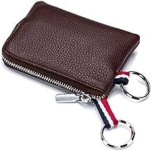 imeetu Mens Leather Coin Purse Wallet, Mini Dual Keyrings Change Pouch Card Holder(Coffee)